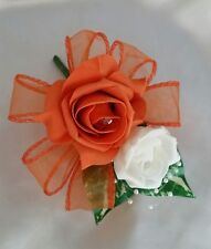 Orange And Ivory Wedding Buttonhole Corsage Pin On  Pearls Ribbon Loops