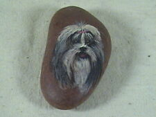 Hand Painted Shih Tzu On River Rock, Stone Signed, Fern 94
