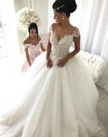 Off Shoulder Puffy Beaded Lace White/Ivory Wedding Dress Corset New Bridal Gown