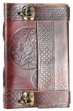 """5.5""""x9"""" Double Lock Leather Bound Pentagram Book of Shadows, Journal!"""