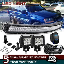 "For Jeep Grand Cherokee WJ 1999-2004 Upper Roof 50"" LED Light Bar+4"" Pods Combo"