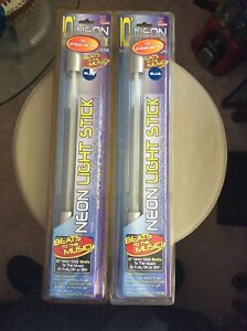 """2 New 10"""" Blue Neon Light Stick Beat To The Music"""