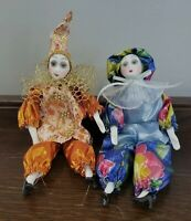 Lot of 2 Flexible Porcelain Pierrot Doll Collectable 7 inches