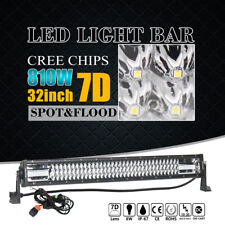 "7D+ 32""INCH 810W TRI-ROW LED LIGHT BAR SPOT FLOOD COMBO OFFROAD DRIVING SUV CREE"