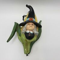 Vintage 1992 House of Hatten Halloween Ornament w/ Witch & Corn
