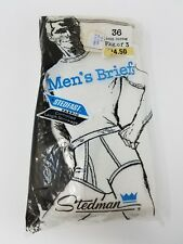 3 Pack Vintage Stedman Mens Briefs Ringer Underwear White 36 High Waisted 70s