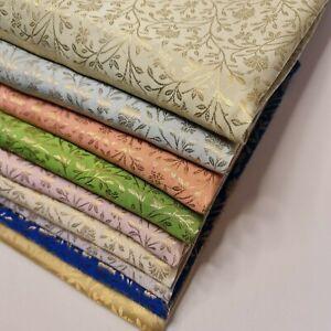 """Floral Gold Metallic Indian Banaras Brocade Waistcoat Dress Curtain Fabric 58"""""""