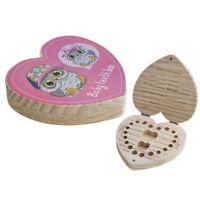 Heart Shaped Baby Wooden Teeth Keepsake Box Tooth Holder Organizer - Kids Memory