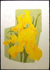 "Ken Nelson ""Yellow Iris"" Hand Signed Ltd Ed Serigraph w/ Embossing, floral art"