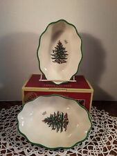 """Spode Christmas Tree Fluted Oval 6"""" Dishes  ~ Set of 2 ~ NIB ~ S3324-A14"""
