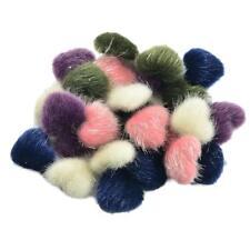 30pcs Heart Mink Fur Flatback Fabric Covered Buttons DIY Scrapbooking Craft