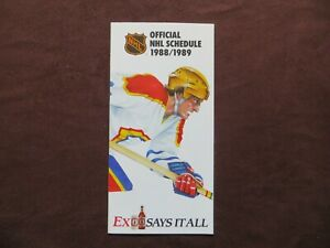 1988-89 Molson Official NHL Schedule Hockey Unmarked Very nice