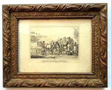 Lithographie encadrée: Chaise de Poste anglaise, signée C. VERNET