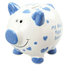 Large 'my First Piggy Bank' Blue Hearts Money Bank by Joe Davies. Delivery