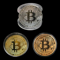 3PCS Bitcoin Commemorative Round Collectors Coin Bit Coin is Gold Plated Coins