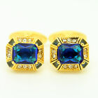 Gold and Blue Wedding Cufflinks with Stones