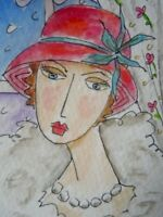 ACEO original watercolour painting - Vintage lady  - by Polly