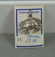 Vintage Sterling Silver Crab Charm by Spencer Co. Original Tag