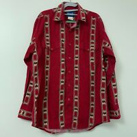 Wrangler Western Men's Long Sleeve Pearl Snap Red Aztec Shirt Rodeo Size Large