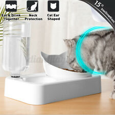 2 In 1 Automatic Water Dispenser Pet Dog Puppy Cat Food Dish Dual Bowl Feeder 2