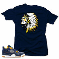 "Shirt to match  Air Jordan Retro 4 Dunk  Sneakers ""The CHIEF"" Navy tee"