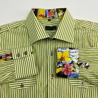 Jared Lang Comic Book Button Up Shirt Men's 2XL XXL Long Sleeve Green Striped
