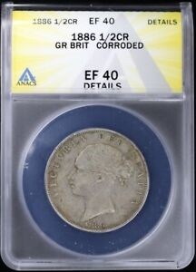 1886 Great Britain 1/2 crown ANACS EF 40 (XF Details) Young Victoria Silver