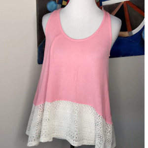 Tresics Womens Tank Top Pink Cream Crochet Shirt Small Loose Fit