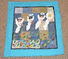 Vintage Original Painting Outsider Folk Art quilt by Chris Clark 28 X 29