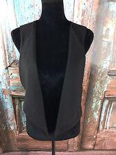 Maurices Women's Size M Black Vest Large Lapel Cropped Career Moto Hippie Boho