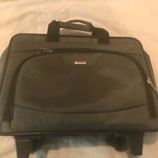 SOLO ROLLING LUGGAGE BAG BRIEFCASE WHEELED CARRY ON GRAY ATTACHE CASE EXCELLENT