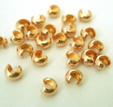 100x 14k Gold Filled 3mm Crimp cover open round bead hide 1-2mm crimp bead GF03
