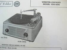 WEBSTER CHICAGO 100-608 PHONOGRAPH PHOTOFACT
