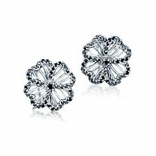 Black CZs Filigree Flower Four Leaf Clover Sterling Silver Post Earrings