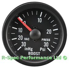 52mm Black Face / Clear Lens Mechanical Turbo Boost Pressure Gauge Kit - PSI