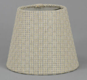 Cream Woven Texture Shade,Hardback,4x6x5,Candle Clip Fitter