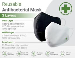 3 x Premium Brand Antibacterial Reusable Mask Washable,Soft,Comfortable,TGA reg.