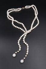 "14k Dual Strand Akoya White Pearl Necklace 16"" 6.5mm Lariat NG431"