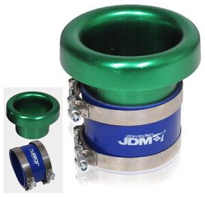 "4"" Inlet Jdm Green Aluminum Turbo Intake Velocity Stack W/ Coupler"