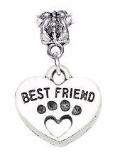 Best Friend Paw Print Heart Dog Cat Pet Footprint Dangle Charm for Euro Bracelet