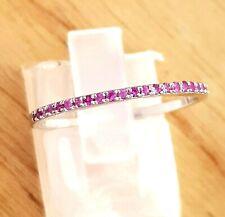 Genuine Pink Sapphire 9K Solid White Gold Ring Wedding Band Diamond Alternative