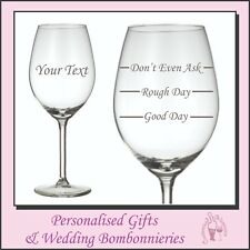 Personalised Name Wine Glass - Good Day Easy day Rough Day, Birthday Xmas Gift