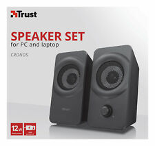 NEW TRUST 22365 2.0 CRONOS 12W USB POWERED SPEAKER SET FOR LAPTOP TABLET PC ETC