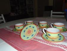 TAZZE 6 PEZZI per caffè con piattini in ceramica dipinta a mano stile vintage
