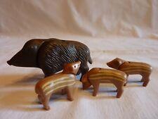 PLAYMOBIL animaux nature forêt chasse bois sanglier la laie et 3 marcassins