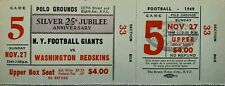 "1949 NFL Football New York Giants "" Silver Anniversary"" Full Ticket Redskins"
