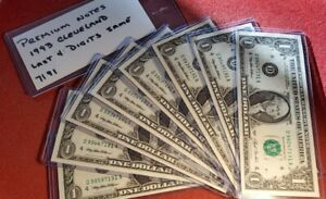 1993 $1 FRN Fancy Serial Numbers all 8 notes have the same last 4 numbers. t1263