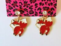 Betsey Johnson Crystal Rhinestone Enamel Fox Post Earrings