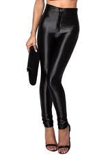 NEUF pour femmes taille haute élastique brillant LEGGINGS DISCO NOIR PANTALON 6