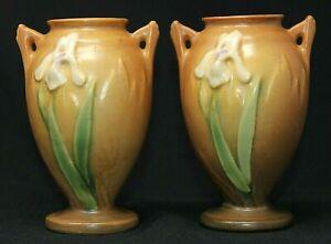 "VINTAGE PAIR Roseville Pottery Iris Vases #915-5, Brown 5 1/4"" Tall VGUC"